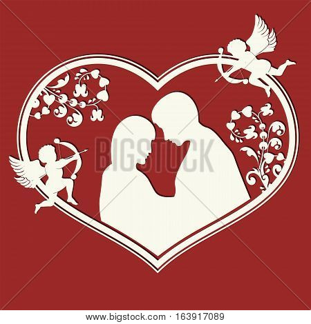 The shape of the heart, the lovers of men and women, cupids white