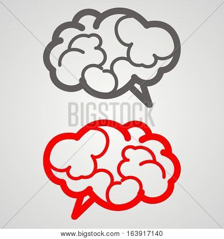 red gray flat brain. vector illustration. gray background