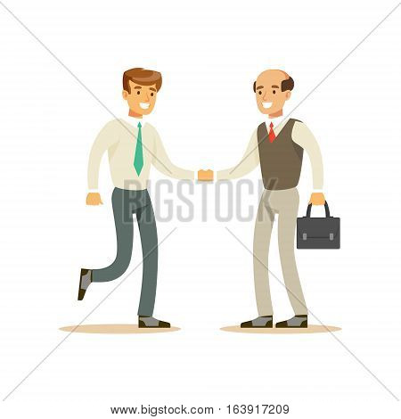 Colleagues Shaking Hands, Business Office Employee In Official Dress Code Clothing Busy At Work Smiling Cartoon Characters. Part Of Marketing And Management Series Of Vector Illustrations.