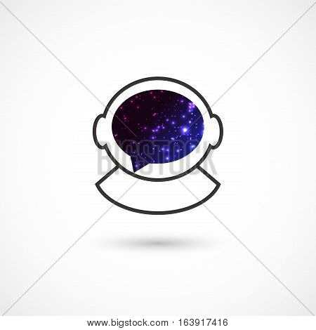 Vector illustration of a cosmonaut symbol on white background