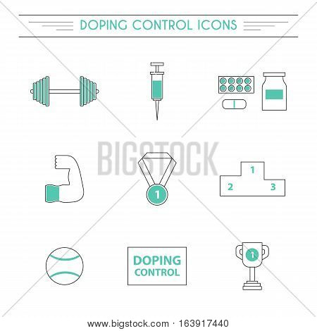 Vector illustration with line flat doping icons. Sport doping control concept. Syringe drugs tablets medal icons. Illegal drug supplement in sport concept. Pharmaceutical competition vector objects