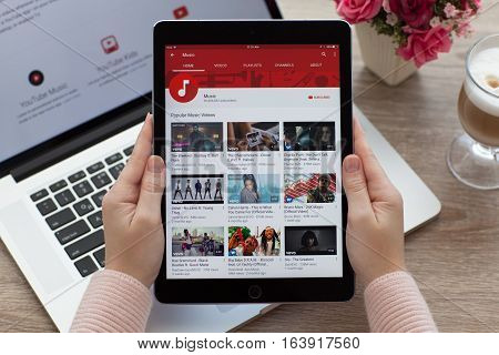 Alushta Russia - October 20 2016: Woman holding a iPad Pro Space Gray with video sharing website YouTube on the screen. iPad Pro 9.7 was created and developed by the Apple inc.