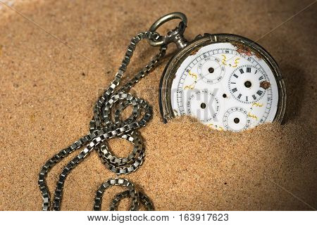Old and broken pocket watch with chain and without watch hands partially buried in the sand