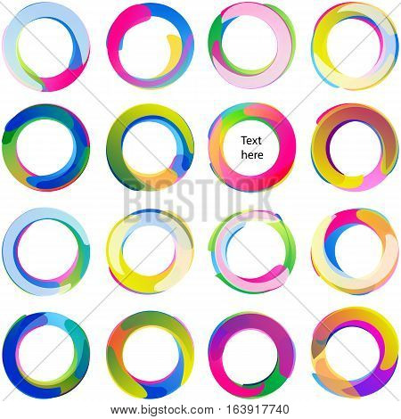 Colored overlapping circles; Arcs rounded multicolored banners Swirled circular medals and labels; Vector icons set Eps10