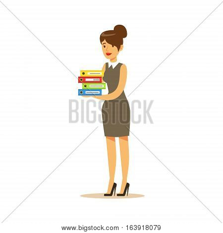 Secretary With Pile Of Folders, Business Office Employee In Official Dress Code Clothing Busy At Work Smiling Cartoon Characters. Part Of Marketing And Management Series Of Vector Illustrations.