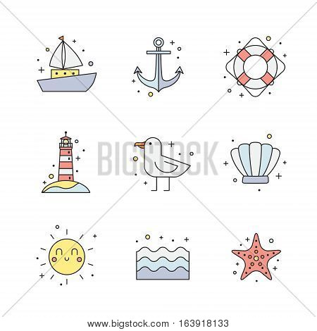 Summer and sea colored icon set. Clean and simple outline design.