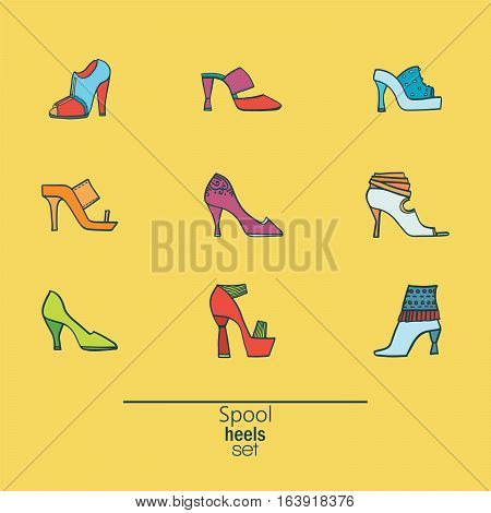 Beautiful set of various shoes and sandals isolated on yellow background. Vector bundle with 9 different summer and spring female footwear with spool heels type. Vector hand drawn illustration.