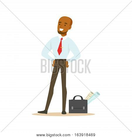 Manager With Suitcase And Project Papers, Business Office Employee In Official Dress Code Clothing Busy At Work Smiling Cartoon Characters. Part Of Marketing And Management Series Of Vector Illustrations.