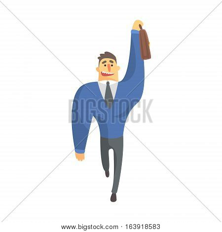 Businessman Top Manager In A Suit Catching Taxi, Office Job Situation Illustration. Funny Male Character Working In Business Financial Sphere Flat Cartoon Character.