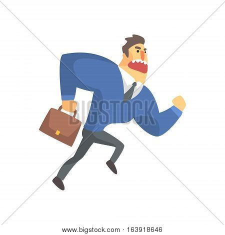 Businessman Top Manager In A Suit Running Late, Office Job Situation Illustration. Funny Male Character Working In Business Financial Sphere Flat Cartoon Character.