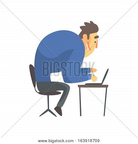 Businessman Top Manager In A Suit At His Desk, Office Job Situation Illustration. Funny Male Character Working In Business Financial Sphere Flat Cartoon Character.