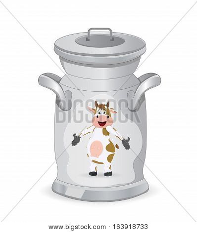 fresh milk in can container with cow picture