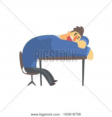 Businessman Top Manager In A Suit Resting On The Table, Office Job Situation Illustration. Funny Male Character Working In Business Financial Sphere Flat Cartoon Character.