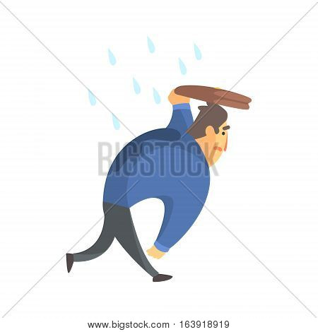Businessman Top Manager In A Suit Walking Under Rain, Office Job Situation Illustration. Funny Male Character Working In Business Financial Sphere Flat Cartoon Character.