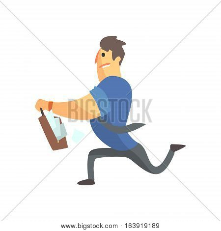 Businessman Top Manager In A Short Sleeve Shirt Running With Suitcase Full Of Papers, Office Job Situation Illustration. Funny Male Character Working In Business Financial Sphere Flat Cartoon Character.