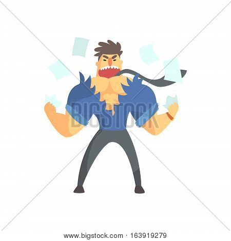Enraged Businessman Top Manager In A Short Sleeve Shirt Ripping Clothes Apart, Office Job Situation Illustration. Funny Male Character Working In Business Financial Sphere Flat Cartoon Character.