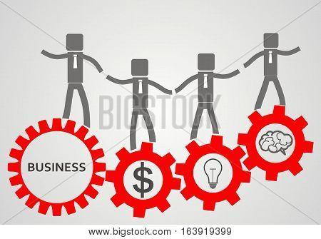 teambuilding concept. reg gears and businessman. vector