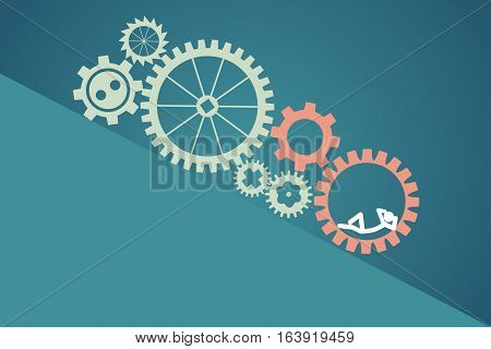 teamwork concept - lazy worker. vector illustration