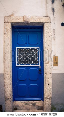 Blue door in the city of lisbon  portugal