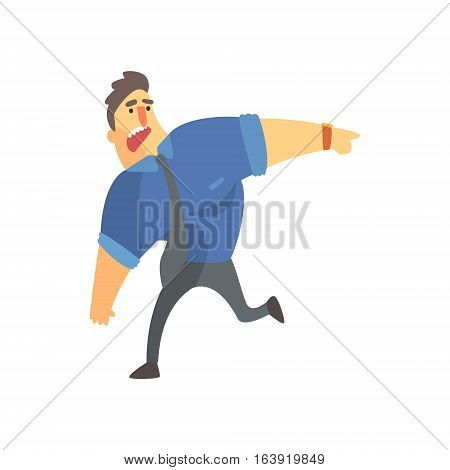 Businessman Top Manager In A Short Sleeve Shirt Very Busy Office Job Situation Illustration. Funny Male Character Working In Business Financial Sphere Flat Cartoon Character.