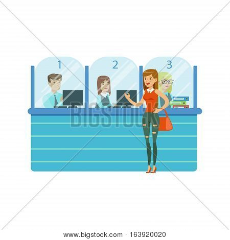 Three Bank Operators In Glass Cubicles And Woman Client. Bank Service, Account Management And Financial Affairs Themed Vector Illustration. Smiling Cartoon Characters In Bank Office Interior Vector Illustration.