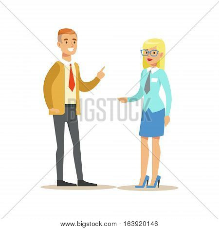 Bank Employee Consulting The Client. Bank Service, Account Management And Financial Affairs Themed Vector Illustration. Smiling Cartoon Characters In Bank Office Interior Vector Illustration.