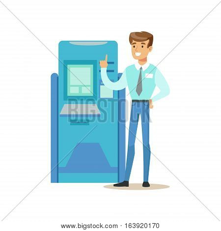 Bank Consultant Standing Next To ATM Cash Machine. Bank Service, Account Management And Financial Affairs Themed Vector Illustration. Smiling Cartoon Characters In Bank Office Interior Vector Illustration.