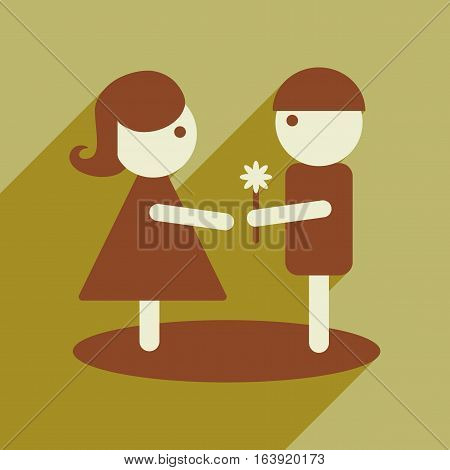 Flat web icon with long shadow man woman flowers