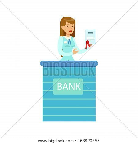 Woman Bank Employee With Official Paper. Bank Service, Account Management And Financial Affairs Themed Vector Illustration. Smiling Cartoon Characters In Bank Office Interior Vector Illustration.