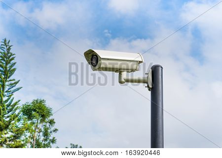 CCTV security camera installed in the park.