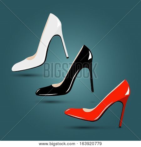 Women classic red, black, white shoes Luxury footwear