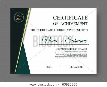 Luxury certificate of achivement with award badge. Vector eps10