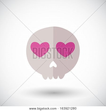 Skull icon. Flat design icon of skull with heart eyes- for Day of the Dead Dia de los Muertos or for Halloween. Vector illustration