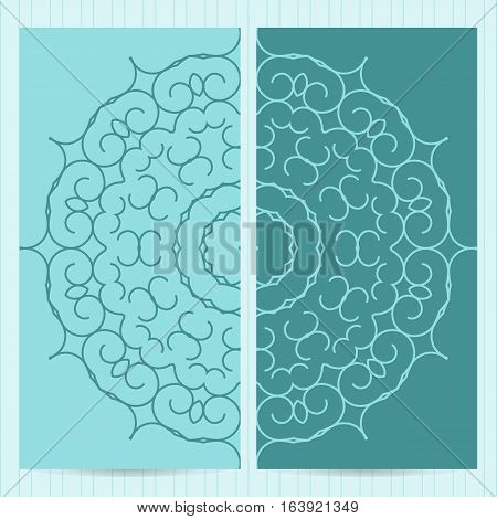 Set Of Cards 4X8 Inch Size Decorated With Mandala In Blue Colors. Collection Of Business Templates I