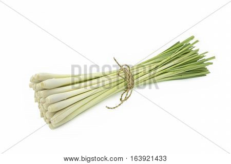Fresh Lemongrass (citronella) isolated on white background with clipping path.