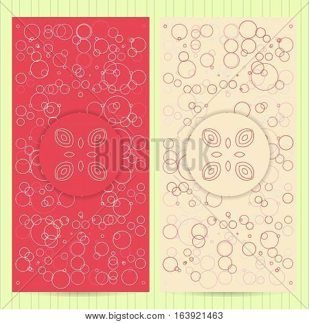 Set Of Cards 4X8 Inch Size With Logo. Collection Of Business Templates, Abstract Geometric Patterns
