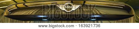 Munich, Germany - December 28, 2016: BMW Mini Cooper logo front view banner background