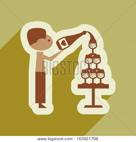 Flat web icon with long shadow Pyramid wine waiter