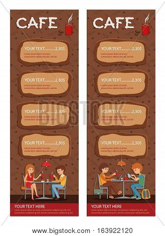 Couples of people in cafe eat, drink and use phone. Templates for flyers and banners. Vector Illustration with men and women at tables on brown background.