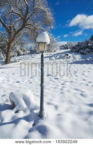 Lamp in Winter Snow - A winter and snowy rural scene featuring an old gas styled lamp. The background features a slight hill, trees, and a bright blue sky with sparse clouds.