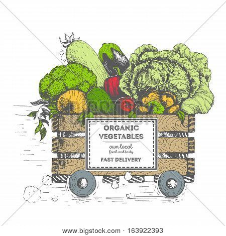 Fast delivery of fresh vegetables. The box on wheels with vegetables. Delivery of organic food. Conceptual image drawn in ink.