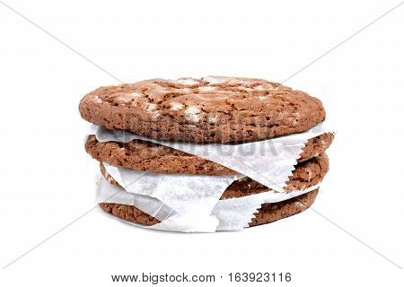 baked fresh gingerbread cookies isolated white background