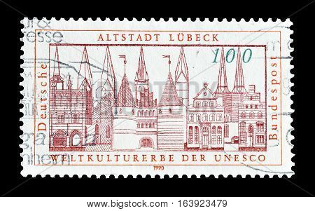 GERMANY - CIRCA 1990 : Cancelled postage stamp printed by Germany, that shows Lubeck.