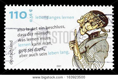 GERMANY - CIRCA 2001 : Cancelled postage stamp printed by Germany, that shows Teacher.
