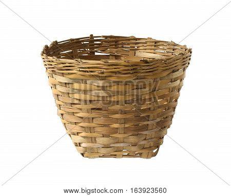 Old bamboo basket isolated on white background