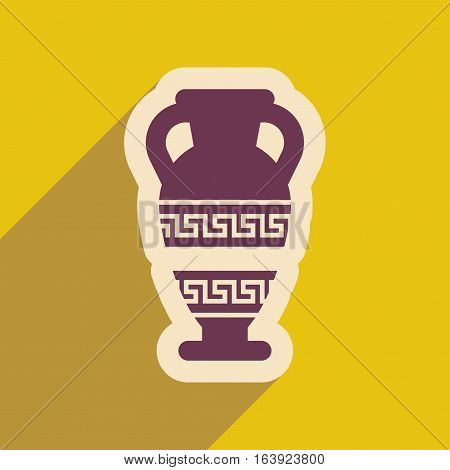 Flat web icon with long shadow amphora