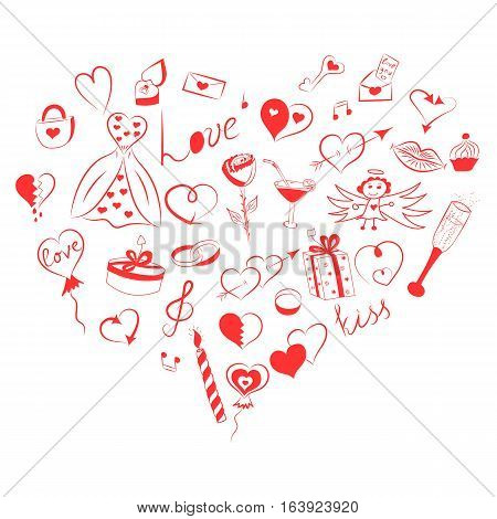 Hand Drawn Set of Valentine's Day Symbols. Children's Funny Doodle Drawings of Red Hearts Gifts Rings Balloons Arranged in a shape of Heart. Sketch Style. Vector Illustration.