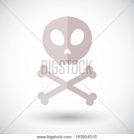 Skull icon. Flat design icon of skull with crossbones - for Day of the Dead Dia de los Muertos or for Halloween. Jolly Roger Vector illustration