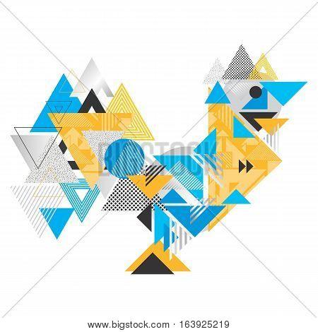 Creative 2017 symbol illustration made of triangle shapes