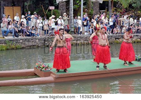 Hawaii, Usa - May 30, 2016: Native Polynesians Dancers In Colorful, Traditional Costumes Perform At